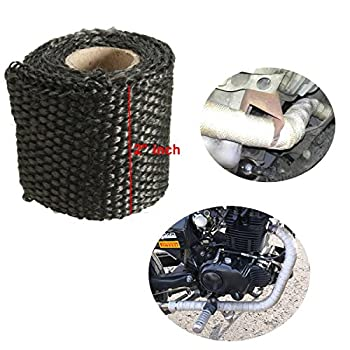 AUDEW 3ft x 2 Inch Exhaust Heat Wrap Fiberglass Heat Shield Tape for Motorcycle Protection 4 Colors Optional Black