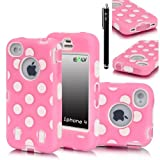 iPhone 4S Case, E LV iPhone 4S Full Body Hybrid Armor Protection Defender Case Cover - Polka Dot Dual Layer Armor Protective Case Cover for iPhone 4S 4 (Verizon, AT&T, T-Mobile, Sprint, International Unlocked) with 1 Stylus, 1 Screen Protector and 1 Microfiber Digital Cleaner