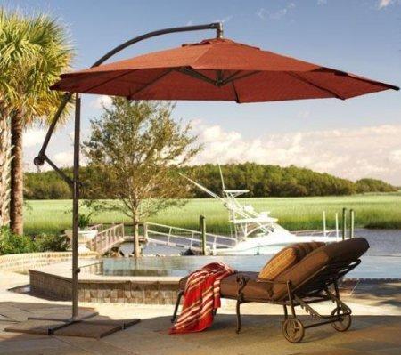 patio umbrella-Cantilever 10' Umbrella, 10'DIAMETER, TERRA COTTA - Umbrella Stand: Patio Umbrella: Cantilever 10' Umbrella, 10'DIAMETER