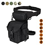 Military Tactical Drop Leg Bag Tool Fanny Thigh Pack Leg Rig Utility Pouch Paintball Airsoft Motorcycle Riding Thermite Versipack, Black
