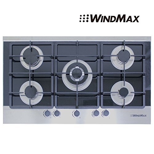 "!!! New Arrival !!36"" Black Electric Tempered Glass Built-In Kitchen 5 Burner Gas Cooktop"