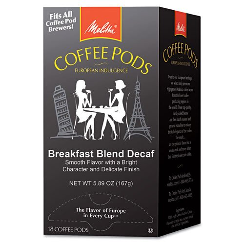 Melitta® - Coffee Pods, Breakfast Blend Decaf, 18 Pods/Box - Sold As 1 Box - Individually foil wrapped and nitrogen flushed for freshness.