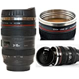 Camera Lens Coffee Mug by Canadian Upgrade - Thermos Travel Cup for Men & Women with Drinking Lid & Quality Stainless Steel Interior - Multi-purpose Gift Idea for Office - Insulated Tumbler with Vacuum - black