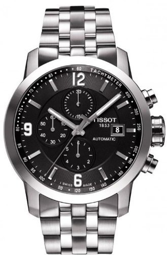 Tissot PRC 200 Automatic Chronograph Black Dial Stainless Steel Mens Watch T0554271105700