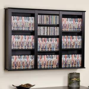 Prepac Black Large Capacity Wall Media Storage Rack