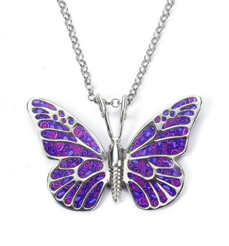 Purple Butterfly Pendant - Silver Insect Necklace - Polymer Clay Jewelry - Millefiori Charms for Women - Unique Birthday Gift - Handmade