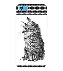 ColourCraft Cute Cat Design Back Case Cover for APPLE IPHONE 5C