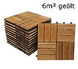 SAM® Terrassenfliese 02 aus Akazien-Holz, 66er Spar-Set für 6 m², Garten-Fliese 30 x 30 cm, Balkon Bodenbelag mit Drainage, Klick-Fliesen für Balkon Garten Terrasse, Terrassenbelag im Mosaik-Muster