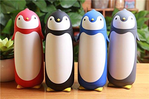 サーモス 水筒 真空断熱 女の子と男の子のペンギン カップ車真空フラスコの創造的なかわいいギフト カップ ステンレス鋼の真空フラスコ (ブラック)
