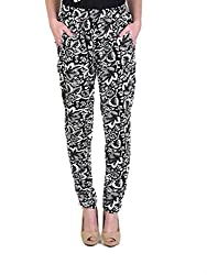 BLACK FLORAL STRAIGHT TROUSERS