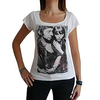 Gainsbourg Birkin : T-shirt Femme imprimé photo de star (XS, ..., t shirt femme,cadeau