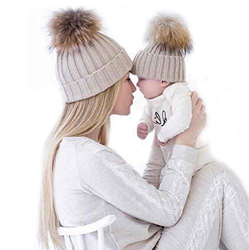 gorros-de-punto-sannysis-2pcs-gorro-de-invierno-para-madre-y-bebe-caqui