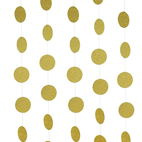SUNBEAUTY Gold Sparkly Glitter Circle Polka Dots Paper Garlands Hanging Decor Bridal Shower Birthday Wedding Decoration (Gold) (Dot Crepe Paper compare prices)