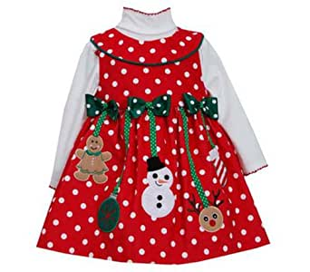 Toddler girls christmas dress red dot hanging ornaments 4t clothing