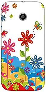 Snoogg White flower graphicHard Back Case Cover Shield For For Motorola E 2nd Generation / Moto E 2nd