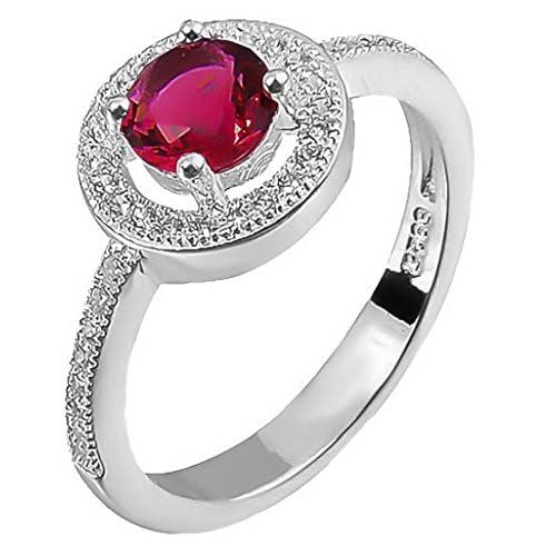 C-Princessリング 指輪 レディース レッドラインストーン付き メッキ キラキラ 輝き エレガント アクセサリー 飾り 高級感あり 結婚式 (14)