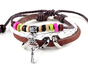 Key Design Brown Leather Beaded Bracelet Adjustable Wristband