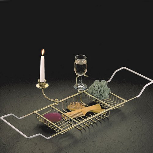 Taymor Chrome Bathtub Caddy with Candle Holder and Wine Glass Holder