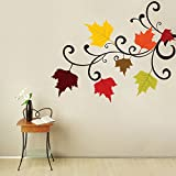 Decal Style Autumn Flowers Wall Sticker Large Size- 34*28 Inch Color - Multicolor