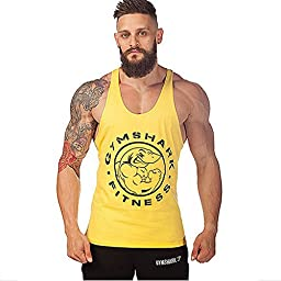 Summer Sweat Gymshark Fitness Muscles Vest Cotton Loose Sports Gym Vest (XXL, Yellow Shark)
