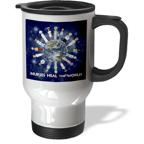 3Drose Nurses Heal The World, Male/Female Nurses Circle Globe, Stainless Steel Travel Mug, 14-Oz,