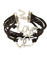 Young & Forever Valentine Special Infinity Love Double Hearts Black Leatherate Armband Bracelet For Women By CrazeeMania...