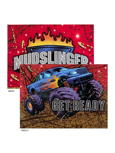 Creative Converting BB021371 Monster Truck Invitations - 8-Pack