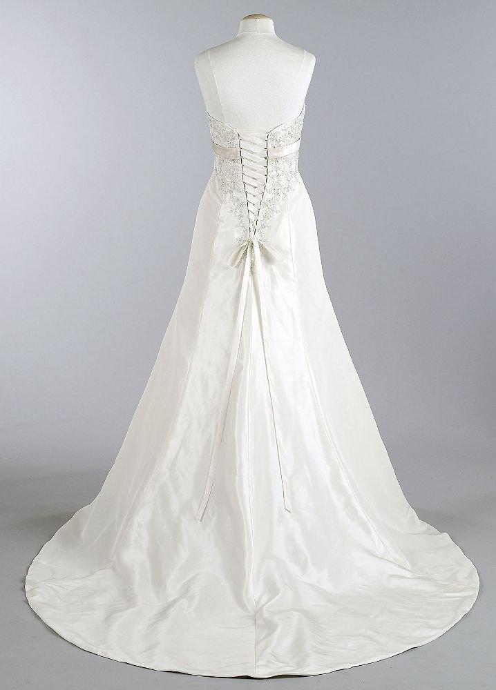 Wedding fashion exclusive david 39 s bridal collection for Satin trumpet wedding dresses