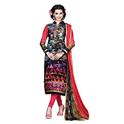 Resham Fabrics Multicolor French Crepe Dress Material