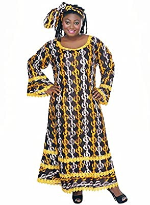 African Planet Women's Dress Brown Ethnic Nigerian Lace Flared Hem Gele Kitenge