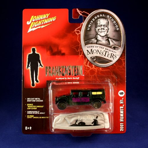 "2001 HUMMER H1 #6 * FRANKENSTEIN * Johnny Lightning 2005 UNIVERSAL STUDIOS MONSTERS 1:64 Scale SERIES 2 Die Cast Vehicle & ""Monster Shroud"" Car Cover"