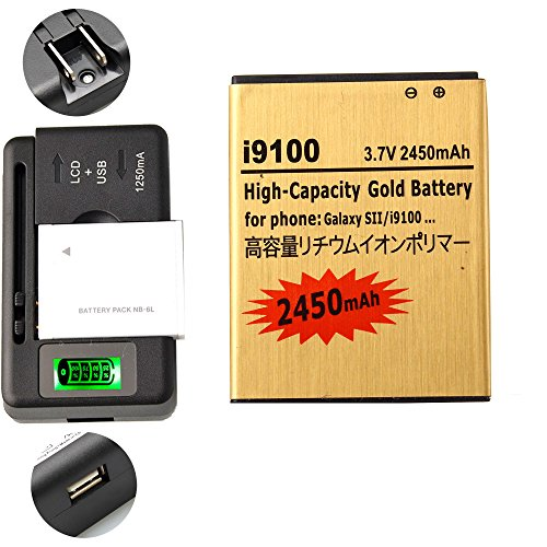 Gold Extended Samsung Galaxy S2 SGH-i777 High Capacity Battery EB-L1A2GBA EB-F1A2GBU + Universal Battery Charger With LED Indicator For Samsung Galaxy S II SGH-i777 / Samsung Galaxy S II I9100 / Samsung Galaxy S2 SGH-i777 / Samsung Galaxy S2 I9100 2450 mAh (Samsung Galaxy S Ii S2 I777 compare prices)