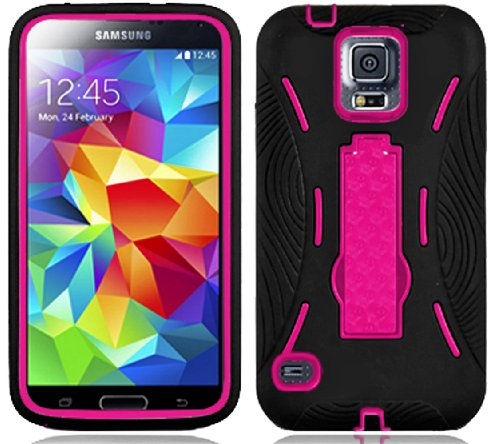 Mylife (Tm) Shocking Matte Black And Vibrant Pink - Shock Suit Survivor Series (Built In Kickstand + Easy Grip Silicone) 3 Piece + 2 Layer Case For New Galaxy S5 (5G) Smartphone By Samsung (External Flex Silicone Bumper Gel + Internal 2 Piece Rubberized S