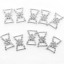 Imported Phenovo Double D Bowknot Rhinestone Ribbon Buckles Sliders 10pcs