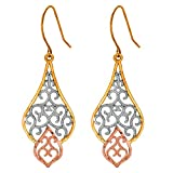 10K Tri-Color Gold Drop Earrings