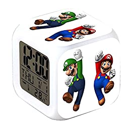 R-timer Anime Super Mario Alarm Clock Digital LED Light Nightlight Accessories for Teenager (Style A)
