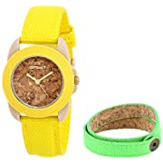 Sprout Women's ST/1064YLGNST Yellow Organic Cotton Strap Watch and Cork Bracelet Set