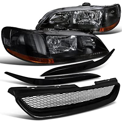 Honda Accord 2Dr Blk Headlights, Grille, Cf Eyelid