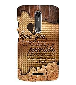 I Love you Cute Fashion 3D Hard Polycarbonate Designer Back Case Cover for Motorola Moto X Style :: Moto X Pure Edition