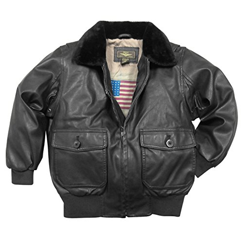 Landing Leathers Big Boys Navy G-1 Faux Leather Flight Bomber Jacket - Black XL Navy G 1 Flight Jacket