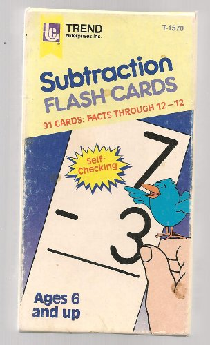 Subtraction flash cards, Facts through 12-12, ages 6 and up - 1