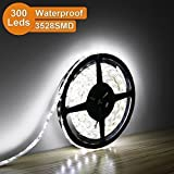 LE Lampux Bandes LED flexibles, 12V, Blanc lumière du jour, étanches, de 300 unités 3528 SMD LED, idéales pour bricolage, pack de 5 m
