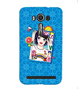 Fuson Blue Pattern Girl Back Case Cover for ASUS ZENFONE 2 LASER ZE500KL - D4118