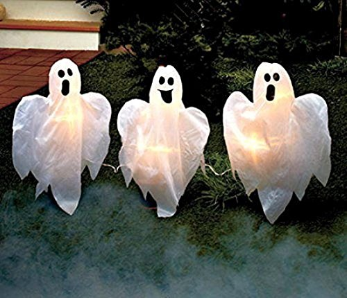 Set of 3 Ideal Popular Ghost Halloween Horror Props Funny Wizard Shadow Animated Color White with (Lighting Mcqueen Costume)