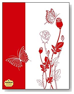 Red Rosebuds On White Notebook - Classy red and white drawing of rosebuds and butterflies make a dramatic cover for this blank and wide ruled notebook with blank pages on the left and lined pages on the right.