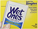 Wet Ones Citrus Antibacterial Hand and Face Wipes Singles, 24-Count (Pack of 5)