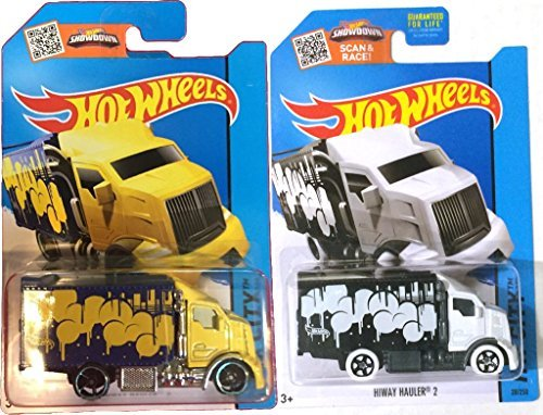 HiWay Hauler 2 Art Car Hot Wheels City Set 2015 2 Color Variant Set #28 - Yellow & White in PROTECTIVE CASES