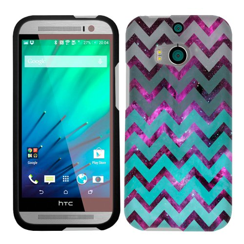 Htc One M8 Nebula Chevrons Grey Green Turquoise Case