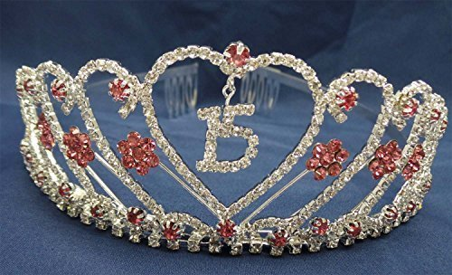 Quinceanera-15-Birthday-Tiara-Swarovski-Clear-Crystal-Hot-Pink-Rhinestone-Princess-WT106-by-Importer520