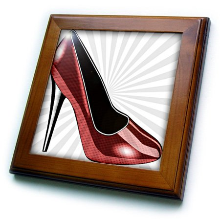 3dRose Dotted Red High Heel - Fashion - Shoes - Art - Framed Tile, 8 by 8-Inch (ft_54489_1) (Pictures Of High Heels compare prices)